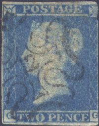 1841 2d Blue SG14 Plate 3 'GG' No.12 in MX